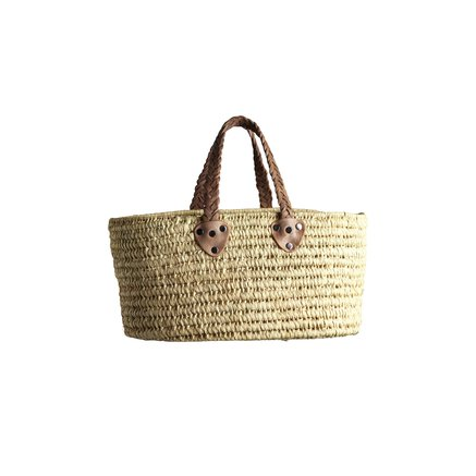 Basket in straw with flat base and woven leather handles, size S