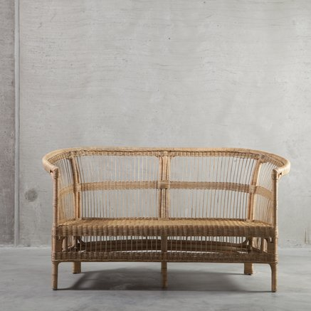 Couch in rattan, 150 x 76 x H 36/80 cm, nature