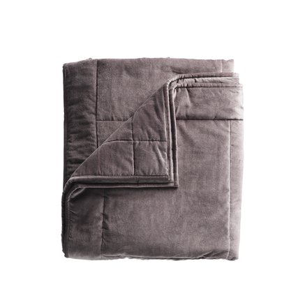 Blanket in velvet, 260 x 260, grey