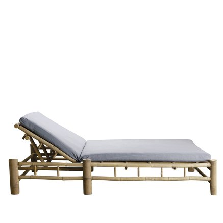Bamboo double sunbed with grey mattress