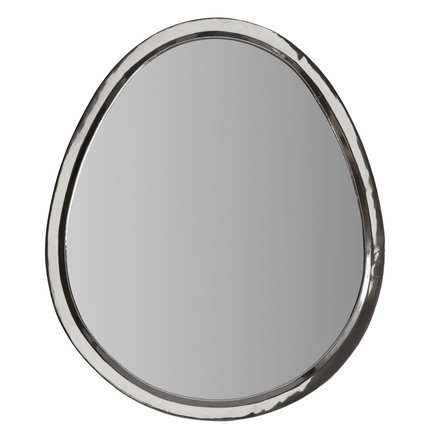 Egg shaped mirror with white silver frame, size XXL