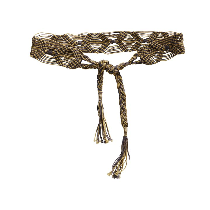 Knotted tie belt, curry
