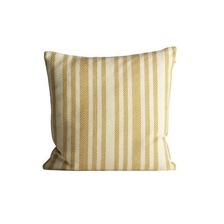 xThick herringbone woven cushion with stripes, 50 x 50 cm, curry