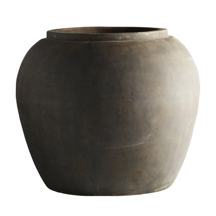 Jar in clay, XXL, D 75 x H 68 cm, smoke