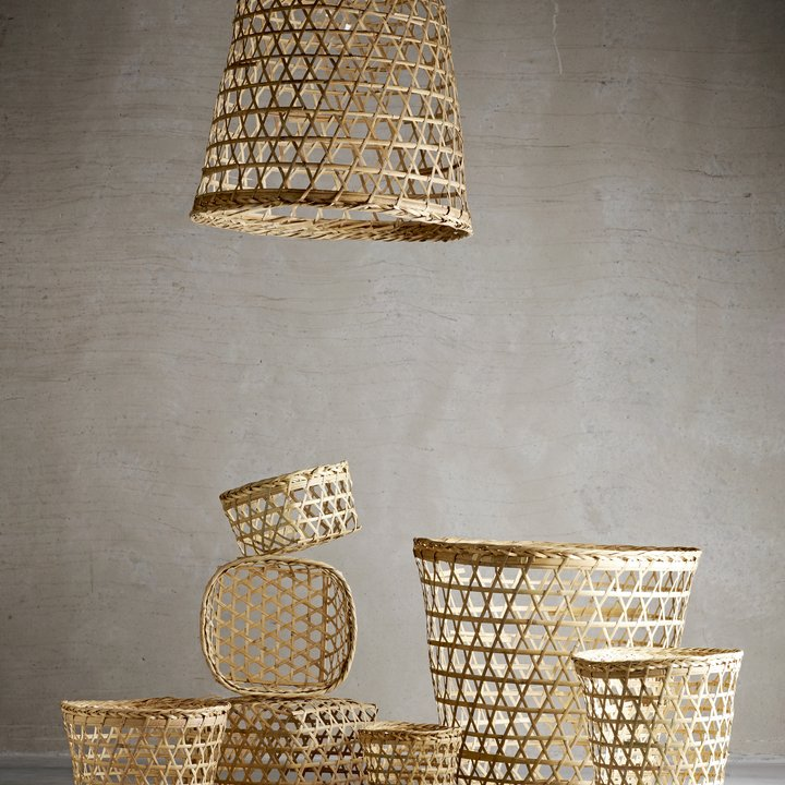 Woven Basket Lamp Shade : Lampshade braided from palm leaves products tine k home