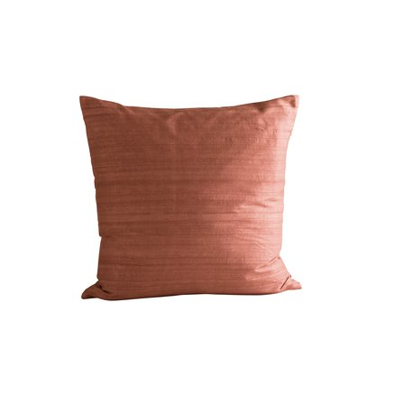 Cushion cover in silk, 50 x 50 cm, rust