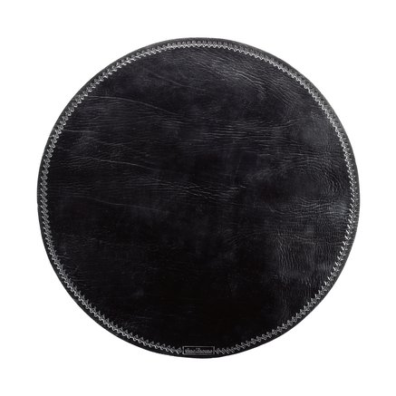 Black leather place mat